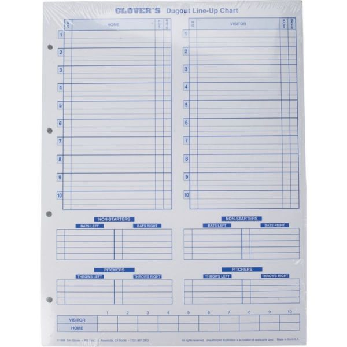 Glover's Scorebooks Baseball/Softball Dugout Line-Up Charts